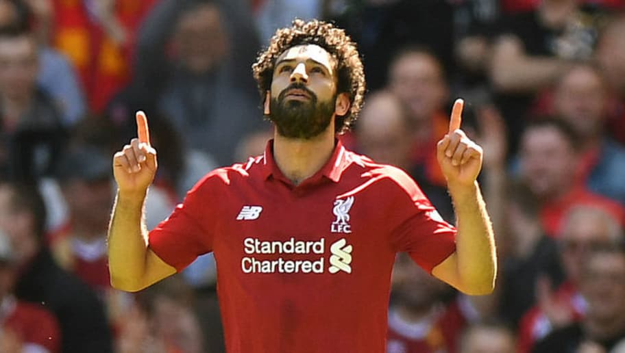Liverpool s Egyptian midfielder Mohamed Salah celebrates after scoring  during the English Premier League football match between c2cb39ea5