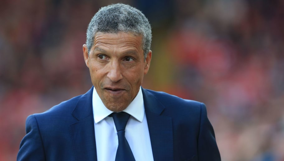 Brighton's Irish manager Chris Hughton looks on during the English Premier League football match between Liverpool and Brighton and Hove Albion at Anfield in Liverpool, north west England on August 25, 2018. (Photo by Lindsey PARNABY / AFP) / RESTRICTED TO EDITORIAL USE. No use with unauthorized audio, video, data, fixture lists, club/league logos or 'live' services. Online in-match use limited to 120 images. An additional 40 images may be used in extra time. No video emulation. Social media in-match use limited to 120 images. An additional 40 images may be used in extra time. No use in betting publications, games or single club/league/player publications. /         (Photo credit should read LINDSEY PARNABY/AFP/Getty Images)