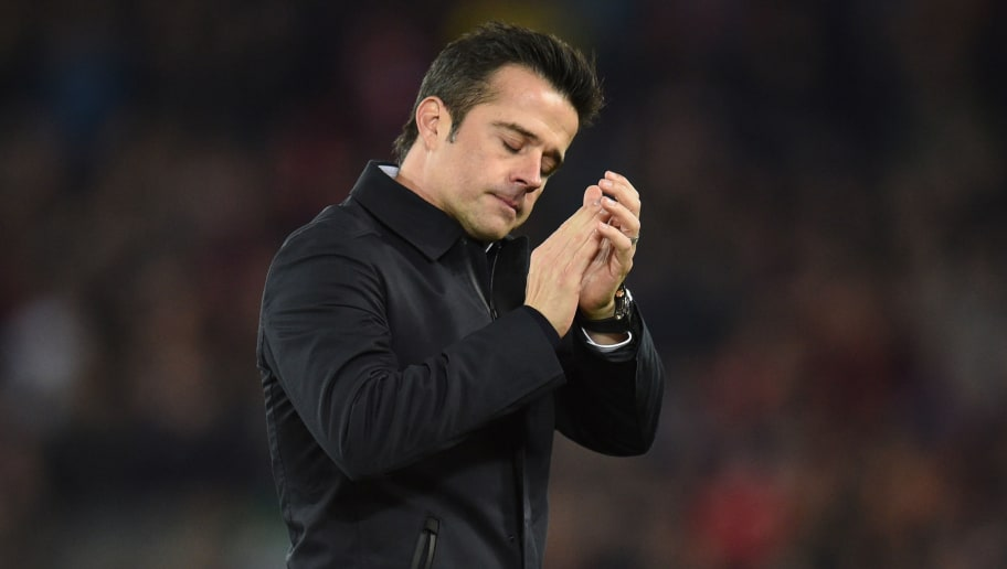Everton's Portuguese manager Marco Silva reacts as he leaves after the English Premier League football match between Liverpool and Everton at Anfield in Liverpool, north west England on December 2, 2018. - Liverpool won the game 1-0. (Photo by Oli SCARFF / AFP) / RESTRICTED TO EDITORIAL USE. No use with unauthorized audio, video, data, fixture lists, club/league logos or 'live' services. Online in-match use limited to 120 images. An additional 40 images may be used in extra time. No video emulation. Social media in-match use limited to 120 images. An additional 40 images may be used in extra time. No use in betting publications, games or single club/league/player publications. /         (Photo credit should read OLI SCARFF/AFP/Getty Images)