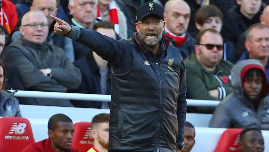 Liverpool's German manager Jurgen Klopp gestures on the touchline during the English Premier League football match between Liverpool and Fulham at Anfield in Liverpool, north west England on November 11, 2018. (Photo by Geoff CADDICK / AFP) / RESTRICTED TO EDITORIAL USE. No use with unauthorized audio, video, data, fixture lists, club/league logos or 'live' services. Online in-match use limited to 120 images. An additional 40 images may be used in extra time. No video emulation. Social media in-match use limited to 120 images. An additional 40 images may be used in extra time. No use in betting publications, games or single club/league/player publications. /         (Photo credit should read GEOFF CADDICK/AFP/Getty Images)