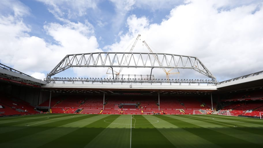 The new stand is seen under construction at the Anfield Stadium ahead of the English Premier League football match between Liverpool and West Ham at the Anfield stadium in Liverpool, north-west England on August 29, 2015. West Ham won the game 3-0. AFP PHOTO / LINDSEY PARNABY  RESTRICTED TO EDITORIAL USE. No use with unauthorized audio, video, data, fixture lists, club/league logos or 'live' services. Online in-match use limited to 75 images, no video emulation. No use in betting, games or single club/league/player publications.        (Photo credit should read LINDSEY PARNABY/AFP/Getty Images)