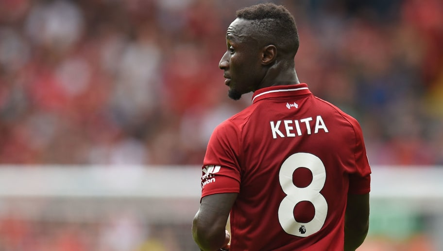 Liverpool's Guinean midfielder Naby Keita makes his Premier League debut during the English Premier League football match between Liverpool and West Ham United at Anfield in Liverpool, north west England on August 12, 2018. (Photo by Oli SCARFF / AFP) / RESTRICTED TO EDITORIAL USE. No use with unauthorized audio, video, data, fixture lists, club/league logos or 'live' services. Online in-match use limited to 120 images. An additional 40 images may be used in extra time. No video emulation. Social media in-match use limited to 120 images. An additional 40 images may be used in extra time. No use in betting publications, games or single club/league/player publications. /         (Photo credit should read OLI SCARFF/AFP/Getty Images)