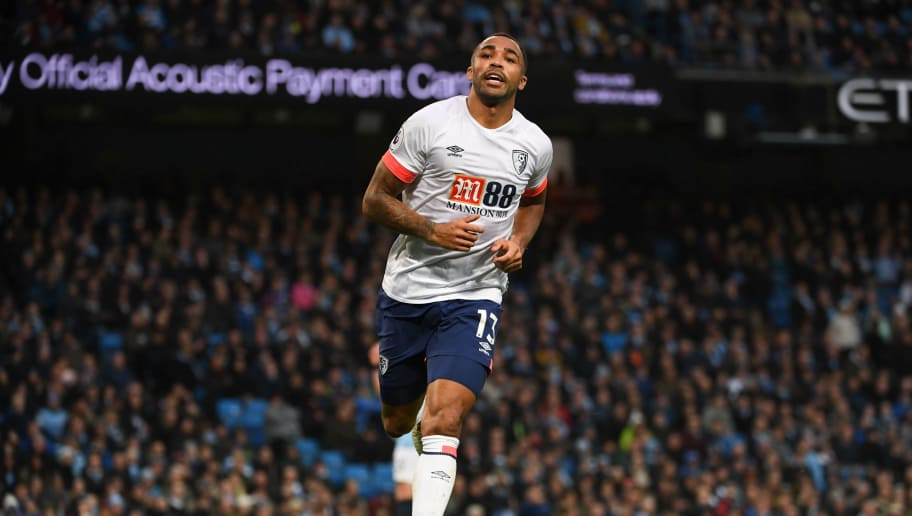 Bournemouth's English striker Callum Wilson celebrates scoring their first goal to equalise 1-1 during the English Premier League football match between Manchester City and Bournemouth at the Etihad Stadium in Manchester, north west England, on December 1, 2018. (Photo by Paul ELLIS / AFP) / RESTRICTED TO EDITORIAL USE. No use with unauthorized audio, video, data, fixture lists, club/league logos or 'live' services. Online in-match use limited to 120 images. An additional 40 images may be used in extra time. No video emulation. Social media in-match use limited to 120 images. An additional 40 images may be used in extra time. No use in betting publications, games or single club/league/player publications. /         (Photo credit should read PAUL ELLIS/AFP/Getty Images)