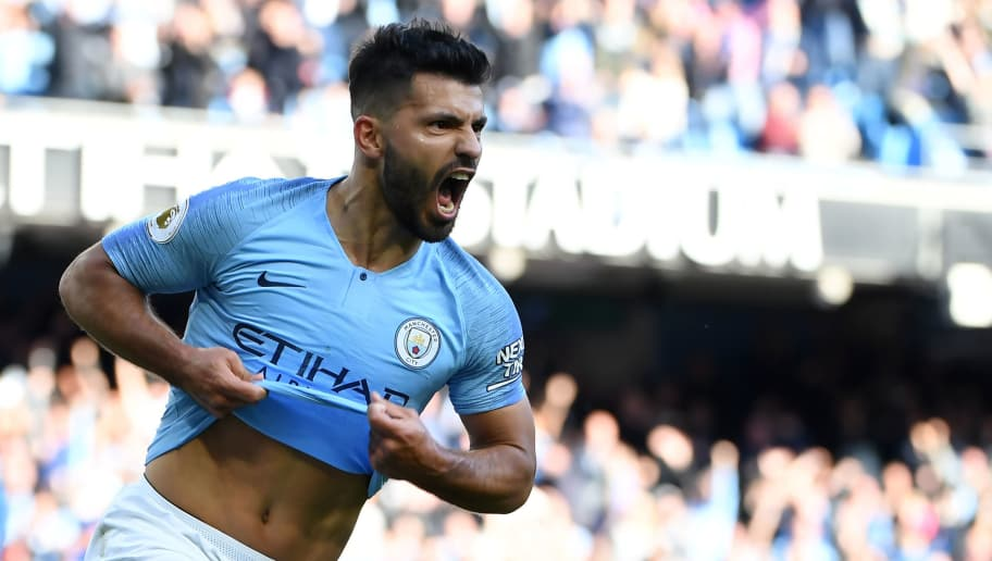 Manchester City's Argentinian striker Sergio Aguero celebrates after scoring the team's second goal during the English Premier League football match between Manchester City and Brighton and Hove Albion at the Etihad Stadium in Manchester, north west England, on September 29, 2018. (Photo by Paul ELLIS / AFP) / RESTRICTED TO EDITORIAL USE. No use with unauthorized audio, video, data, fixture lists, club/league logos or 'live' services. Online in-match use limited to 120 images. An additional 40 images may be used in extra time. No video emulation. Social media in-match use limited to 120 images. An additional 40 images may be used in extra time. No use in betting publications, games or single club/league/player publications. /         (Photo credit should read PAUL ELLIS/AFP/Getty Images)