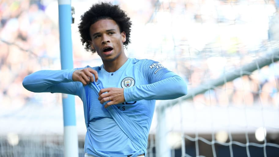 Manchester City's German midfielder Leroy Sane reacts to a missed header during the English Premier League football match between Manchester City and Brighton and Hove Albion at the Etihad Stadium in Manchester, north west England, on September 29, 2018. (Photo by Paul ELLIS / AFP) / RESTRICTED TO EDITORIAL USE. No use with unauthorized audio, video, data, fixture lists, club/league logos or 'live' services. Online in-match use limited to 120 images. An additional 40 images may be used in extra time. No video emulation. Social media in-match use limited to 120 images. An additional 40 images may be used in extra time. No use in betting publications, games or single club/league/player publications. /         (Photo credit should read PAUL ELLIS/AFP/Getty Images)