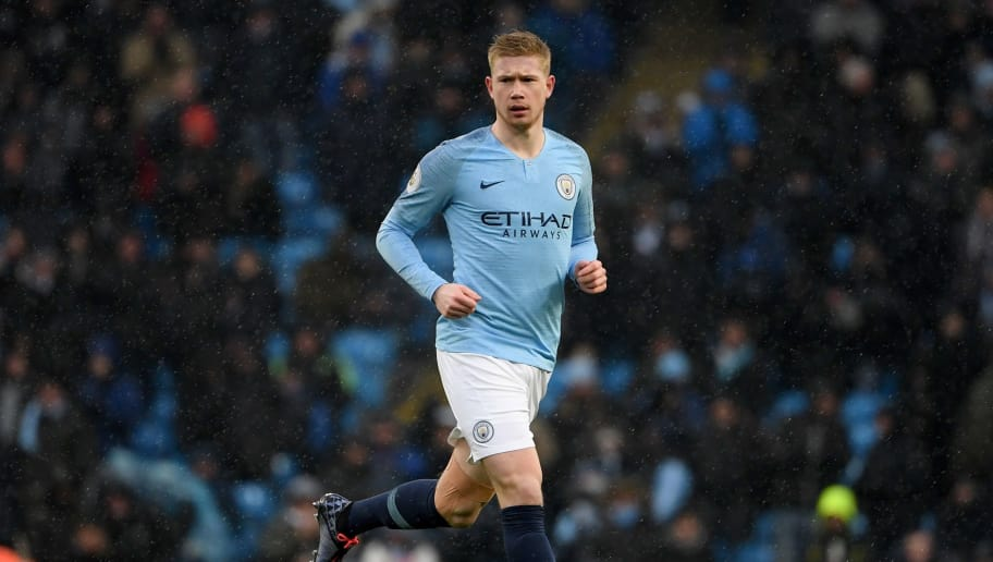 Manchester City's Belgian midfielder Kevin De Bruyne runs onto the pitch during the English Premier League football match between Manchester City and Everton at the Etihad Stadium in Manchester, north west England, on December 15, 2018. (Photo by Paul ELLIS / AFP) / RESTRICTED TO EDITORIAL USE. No use with unauthorized audio, video, data, fixture lists, club/league logos or 'live' services. Online in-match use limited to 120 images. An additional 40 images may be used in extra time. No video emulation. Social media in-match use limited to 120 images. An additional 40 images may be used in extra time. No use in betting publications, games or single club/league/player publications. /         (Photo credit should read PAUL ELLIS/AFP/Getty Images)