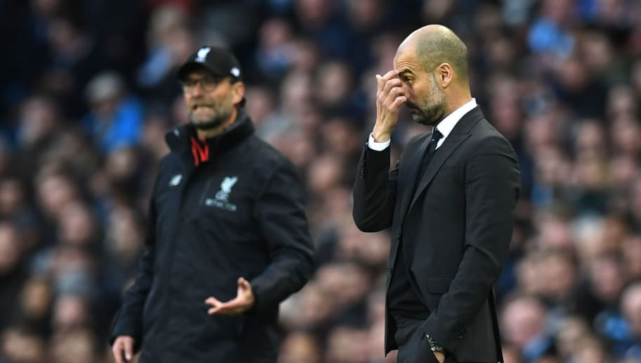 Liverpool's German manager Jurgen Klopp (L) and Manchester City's Spanish manager Pep Guardiola look on during the English Premier League football match between Manchester City and Liverpool at the Etihad Stadium in Manchester, north west England, on March 19, 2017. / AFP PHOTO / Paul ELLIS / RESTRICTED TO EDITORIAL USE. No use with unauthorized audio, video, data, fixture lists, club/league logos or 'live' services. Online in-match use limited to 75 images, no video emulation. No use in betting, games or single club/league/player publications.  /         (Photo credit should read PAUL ELLIS/AFP/Getty Images)