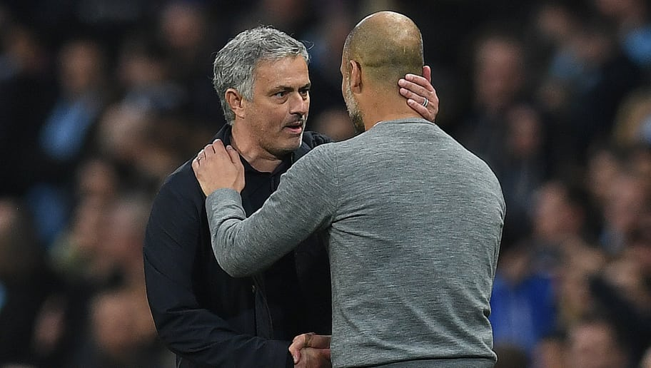 Manchester United's Portuguese manager Jose Mourinho (L) shakes hands Manchester City's Spanish manager Pep Guardiola following the English Premier League football match between Manchester City and Manchester United at the Etihad Stadium in Manchester, north west England, on April 7, 2018. Manchester United won the match 3-2. / AFP PHOTO / Paul ELLIS / RESTRICTED TO EDITORIAL USE. No use with unauthorized audio, video, data, fixture lists, club/league logos or 'live' services. Online in-match use limited to 75 images, no video emulation. No use in betting, games or single club/league/player publications.  /         (Photo credit should read PAUL ELLIS/AFP/Getty Images)