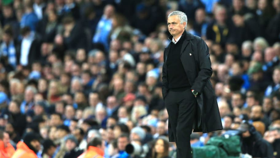 Manchester United's Portuguese manager Jose Mourinho looks on during the English Premier League football match between Manchester City and Manchester United at the Etihad Stadium in Manchester, north west England, on November 11, 2018. (Photo by Lindsey PARNABY / AFP) / RESTRICTED TO EDITORIAL USE. No use with unauthorized audio, video, data, fixture lists, club/league logos or 'live' services. Online in-match use limited to 120 images. An additional 40 images may be used in extra time. No video emulation. Social media in-match use limited to 120 images. An additional 40 images may be used in extra time. No use in betting publications, games or single club/league/player publications. /         (Photo credit should read LINDSEY PARNABY/AFP/Getty Images)