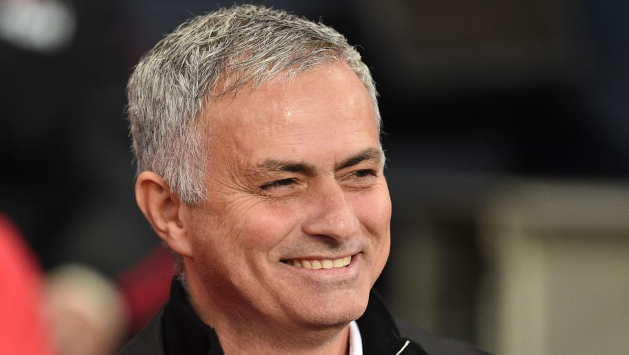 Manchester United's Portuguese manager Jose Mourinho smiles before the English Premier League football match between Manchester City and Manchester United at the Etihad Stadium in Manchester, north west England, on November 11, 2018. (Photo by Oli SCARFF / AFP) / RESTRICTED TO EDITORIAL USE. No use with unauthorized audio, video, data, fixture lists, club/league logos or 'live' services. Online in-match use limited to 120 images. An additional 40 images may be used in extra time. No video emulation. Social media in-match use limited to 120 images. An additional 40 images may be used in extra time. No use in betting publications, games or single club/league/player publications. /         (Photo credit should read OLI SCARFF/AFP/Getty Images)