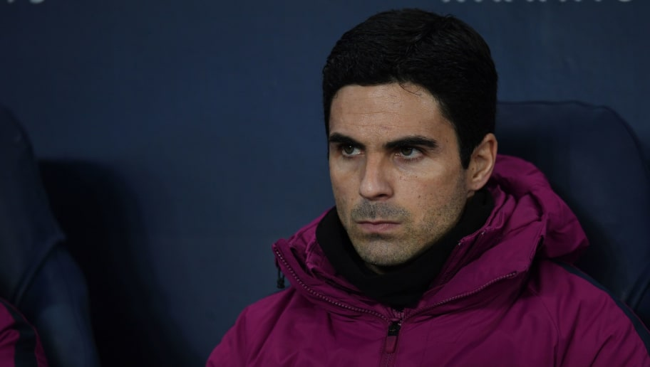 Assistant coach Mikel Arteta looks on during the English Premier League football match between Manchester City and Tottenham Hotspur at the Etihad Stadium in Manchester, north west England, on December 16, 2017. / AFP PHOTO / Paul ELLIS / RESTRICTED TO EDITORIAL USE. No use with unauthorized audio, video, data, fixture lists, club/league logos or 'live' services. Online in-match use limited to 75 images, no video emulation. No use in betting, games or single club/league/player publications.  /         (Photo credit should read PAUL ELLIS/AFP/Getty Images)