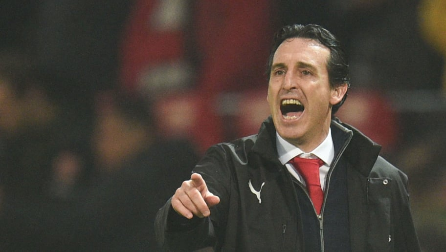 Arsenal's Spanish head coach Unai Emery gestures on the touchline during the English Premier League football match between Manchester United and Arsenal at Old Trafford in Manchester, north west England, on December 5, 2018. (Photo by Oli SCARFF / AFP) / RESTRICTED TO EDITORIAL USE. No use with unauthorized audio, video, data, fixture lists, club/league logos or 'live' services. Online in-match use limited to 120 images. An additional 40 images may be used in extra time. No video emulation. Social media in-match use limited to 120 images. An additional 40 images may be used in extra time. No use in betting publications, games or single club/league/player publications. /         (Photo credit should read OLI SCARFF/AFP/Getty Images)