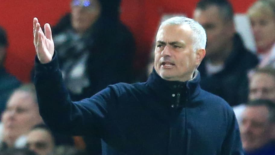 Manchester United's Portuguese manager Jose Mourinho gestures from the touchline during the English Premier League football match between Manchester United and Crystal Palace at Old Trafford in Manchester, north west England, on November 24, 2018. (Photo by Lindsey PARNABY / AFP) / RESTRICTED TO EDITORIAL USE. No use with unauthorized audio, video, data, fixture lists, club/league logos or 'live' services. Online in-match use limited to 120 images. An additional 40 images may be used in extra time. No video emulation. Social media in-match use limited to 120 images. An additional 40 images may be used in extra time. No use in betting publications, games or single club/league/player publications. /         (Photo credit should read LINDSEY PARNABY/AFP/Getty Images)