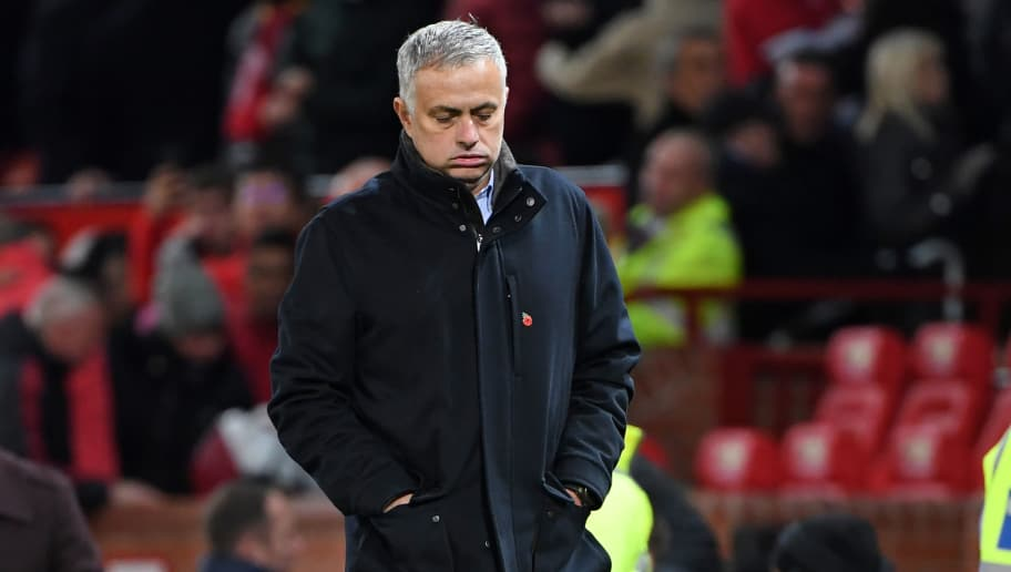 Manchester United's Portuguese manager Jose Mourinho reacts as he leaves at full time in the English Premier League football match between Manchester United and Everton at Old Trafford in Manchester, north west England, on October 28, 2018. - Manchester Utd won the game 2-1. (Photo by Paul ELLIS / AFP) / RESTRICTED TO EDITORIAL USE. No use with unauthorized audio, video, data, fixture lists, club/league logos or 'live' services. Online in-match use limited to 120 images. An additional 40 images may be used in extra time. No video emulation. Social media in-match use limited to 120 images. An additional 40 images may be used in extra time. No use in betting publications, games or single club/league/player publications. /         (Photo credit should read PAUL ELLIS/AFP/Getty Images)