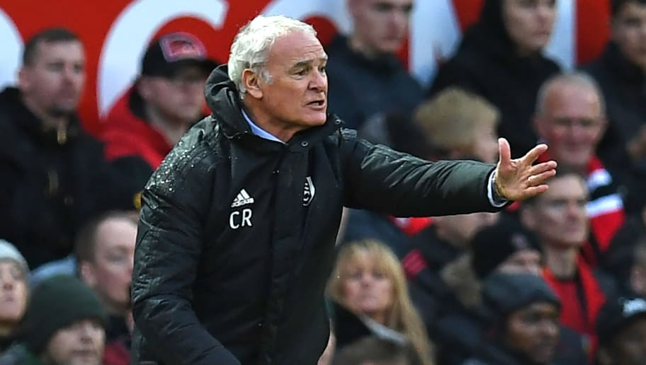 Fulham's Italian manager Claudio Ranieri gestures on the touchline during the English Premier League football match between Manchester United and Fulham at Old Trafford in Manchester, north west England, on December 8, 2018. (Photo by Paul ELLIS / AFP) / RESTRICTED TO EDITORIAL USE. No use with unauthorized audio, video, data, fixture lists, club/league logos or 'live' services. Online in-match use limited to 120 images. An additional 40 images may be used in extra time. No video emulation. Social media in-match use limited to 120 images. An additional 40 images may be used in extra time. No use in betting publications, games or single club/league/player publications. /         (Photo credit should read PAUL ELLIS/AFP/Getty Images)