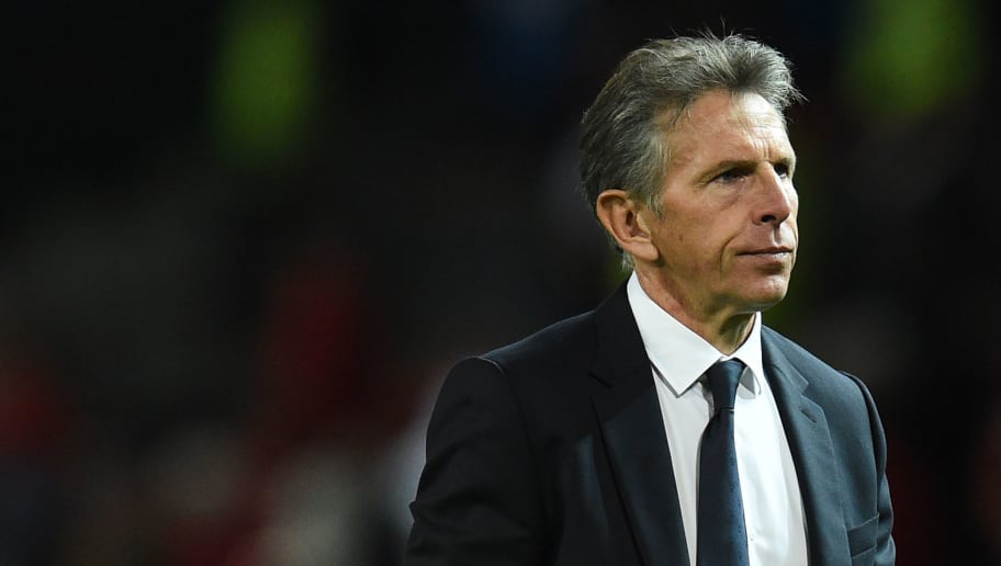 Leicester City's French manager Claude Puel gestures after the English Premier League football match between Manchester United and Leicester City at Old Trafford in Manchester, north west England, on August 10, 2018. (Photo by Oli SCARFF / AFP) / RESTRICTED TO EDITORIAL USE. No use with unauthorized audio, video, data, fixture lists, club/league logos or 'live' services. Online in-match use limited to 120 images. An additional 40 images may be used in extra time. No video emulation. Social media in-match use limited to 120 images. An additional 40 images may be used in extra time. No use in betting publications, games or single club/league/player publications /         (Photo credit should read OLI SCARFF/AFP/Getty Images)