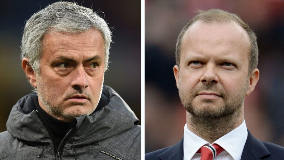 A combination of file pictures created in London on August 24, 2018 shows Manchester United's Portuguese manager Jose Mourinho (L) on the touchline ahead of the English FA Cup fifth round football match between Huddersfield Town and Manchester United at the John Smith's stadium in Huddersfield, northern England on February 17, 2018 and Manchester United's executive vice-chairman Ed Woodward (R) standing on the pitch before the start of the English Premier League football match between Manchester United and Everton at Old Trafford in Manchester, north west England, on April 3, 2016. - Jose Mourinho on on August 24, 2018 denied a rift with executive vice-chairman Ed Woodward despite growing speculation over the power structure at Manchester United. (Photo by OLI SCARFF / AFP)        (Photo credit should read OLI SCARFF/AFP/Getty Images)