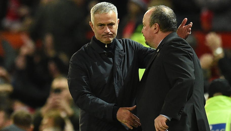 Manchester United's Portuguese manager Jose Mourinho (L) and Newcastle United's Spanish manager Rafael Benitez shake hands after the English Premier League football match between Manchester United and Newcastle at Old Trafford in Manchester, north west England, on October 6, 2018. (Photo by Oli SCARFF / AFP) / RESTRICTED TO EDITORIAL USE. No use with unauthorized audio, video, data, fixture lists, club/league logos or 'live' services. Online in-match use limited to 120 images. An additional 40 images may be used in extra time. No video emulation. Social media in-match use limited to 120 images. An additional 40 images may be used in extra time. No use in betting publications, games or single club/league/player publications. /         (Photo credit should read OLI SCARFF/AFP/Getty Images)