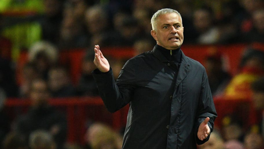 Manchester United's Portuguese manager Jose Mourinho gestures during the English Premier League football match between Manchester United and Newcastle at Old Trafford in Manchester, north west England, on October 6, 2018. (Photo by Oli SCARFF / AFP) / RESTRICTED TO EDITORIAL USE. No use with unauthorized audio, video, data, fixture lists, club/league logos or 'live' services. Online in-match use limited to 120 images. An additional 40 images may be used in extra time. No video emulation. Social media in-match use limited to 120 images. An additional 40 images may be used in extra time. No use in betting publications, games or single club/league/player publications. /         (Photo credit should read OLI SCARFF/AFP/Getty Images)