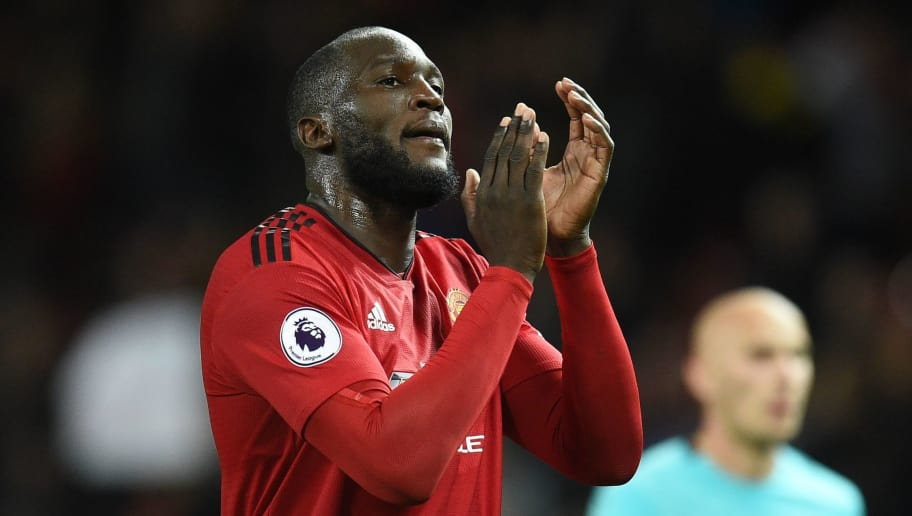 Manchester United's Belgian striker Romelu Lukaku gestures after the English Premier League football match between Manchester United and Newcastle at Old Trafford in Manchester, north west England, on October 6, 2018. (Photo by Oli SCARFF / AFP) / RESTRICTED TO EDITORIAL USE. No use with unauthorized audio, video, data, fixture lists, club/league logos or 'live' services. Online in-match use limited to 120 images. An additional 40 images may be used in extra time. No video emulation. Social media in-match use limited to 120 images. An additional 40 images may be used in extra time. No use in betting publications, games or single club/league/player publications. /         (Photo credit should read OLI SCARFF/AFP/Getty Images)