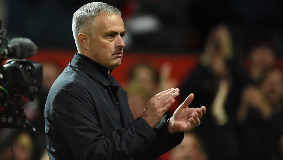 Manchester United's Portuguese manager Jose Mourinho gestures after the English Premier League football match between Manchester United and Newcastle at Old Trafford in Manchester, north west England, on October 6, 2018. (Photo by Oli SCARFF / AFP) / RESTRICTED TO EDITORIAL USE. No use with unauthorized audio, video, data, fixture lists, club/league logos or 'live' services. Online in-match use limited to 120 images. An additional 40 images may be used in extra time. No video emulation. Social media in-match use limited to 120 images. An additional 40 images may be used in extra time. No use in betting publications, games or single club/league/player publications. /         (Photo credit should read OLI SCARFF/AFP/Getty Images)