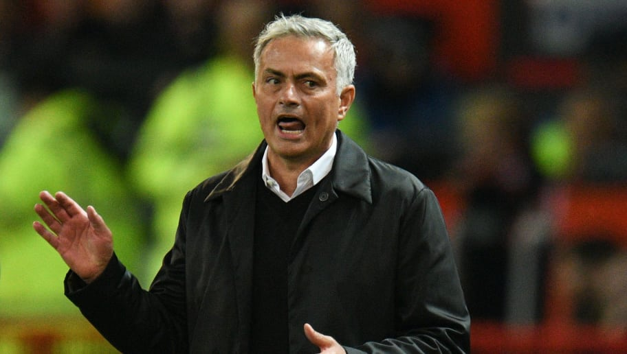 Manchester United's Portuguese manager Jose Mourinho gestures from the touchline during the English Premier League football match between Manchester United and Tottenham Hotspur at Old Trafford in Manchester, north west England, on August 27, 2018. (Photo by Oli SCARFF / AFP) / RESTRICTED TO EDITORIAL USE. No use with unauthorized audio, video, data, fixture lists, club/league logos or 'live' services. Online in-match use limited to 120 images. An additional 40 images may be used in extra time. No video emulation. Social media in-match use limited to 120 images. An additional 40 images may be used in extra time. No use in betting publications, games or single club/league/player publications. /         (Photo credit should read OLI SCARFF/AFP/Getty Images)