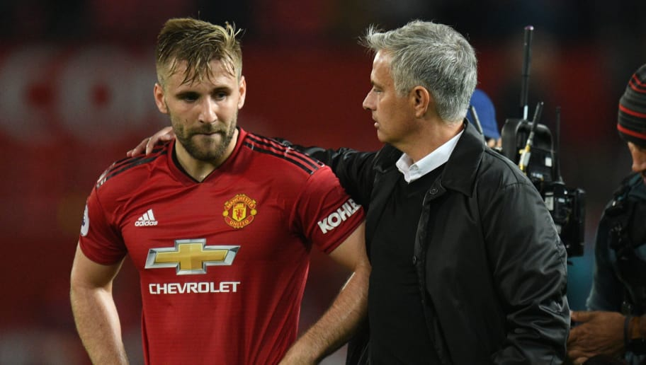 Manchester United's Portuguese manager Jose Mourinho (R) greets Manchester United's English defender Luke Shaw (L) after the final whistle in the English Premier League football match between Manchester United and Tottenham Hotspur at Old Trafford in Manchester, north west England, on August 27, 2018. (Photo by Oli SCARFF / AFP) / RESTRICTED TO EDITORIAL USE. No use with unauthorized audio, video, data, fixture lists, club/league logos or 'live' services. Online in-match use limited to 120 images. An additional 40 images may be used in extra time. No video emulation. Social media in-match use limited to 120 images. An additional 40 images may be used in extra time. No use in betting publications, games or single club/league/player publications. /         (Photo credit should read OLI SCARFF/AFP/Getty Images)
