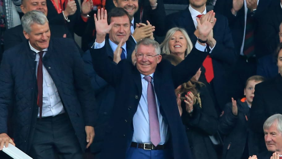 Former Manchester United manager Alex Ferguson waves to the crowd as he arrives for the English Premier League football match between Manchester United and Wolverhampton Wanderers at Old Trafford in Manchester, north west England, on September 22, 2018. - Alex Ferguson made an emotional return to Manchester United on Saturday for the first time since the club's legendary former manager had emergency brain surgery. (Photo by Lindsey PARNABY / AFP) / RESTRICTED TO EDITORIAL USE. No use with unauthorized audio, video, data, fixture lists, club/league logos or 'live' services. Online in-match use limited to 120 images. An additional 40 images may be used in extra time. No video emulation. Social media in-match use limited to 120 images. An additional 40 images may be used in extra time. No use in betting publications, games or single club/league/player publications. /         (Photo credit should read LINDSEY PARNABY/AFP/Getty Images)