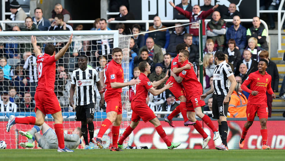 "Liverpool's Danish defender Daniel Agger (3-R) celebrates with teammates after scoring a goal during the English Premier League football match between Newcastle United and Liverpool at St James' Park in Newcastle, northeast England, on April 27, 2013. AFP PHOTO/IAN MACNICOL  RESTRICTED TO EDITORIAL USE. NO USE WITH UNAUTHORIZED AUDIO, VIDEO, DATA, FIXTURE LISTS, CLUB/LEAGUE LOGOS OR ""LIVE"" SERVICES. ONLINE IN-MATCH USE LIMITED TO 45 IMAGES, NO VIDEO EMULATION. NO USE IN BETTING, GAMES OR SINGLE CLUB/LEAGUE/PLAYER PUBLICATIONS        (Photo credit should read Ian MacNicol/AFP/Getty Images)"