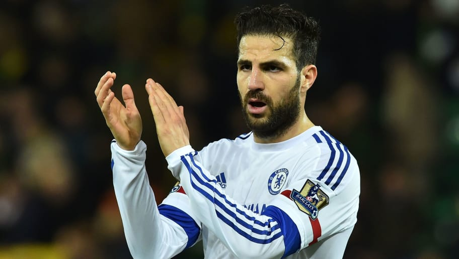 Chelsea's Spanish midfielder Cesc Fabregas applauds the fans at the end of the English Premier League football match between Norwich City and Chelsea at Carrow Road in Norwich, eastern England, on March 1, 2016.   / AFP / BEN STANSALL / RESTRICTED TO EDITORIAL USE. No use with unauthorized audio, video, data, fixture lists, club/league logos or 'live' services. Online in-match use limited to 75 images, no video emulation. No use in betting, games or single club/league/player publications.  / RESTRICTED TO EDITORIAL USE. NO USE WITH UNAUTHORIZED AUDIO, VIDEO, DATA, FIXTURE LISTS, CLUB/LEAGUE LOGOS OR 'LIVE' SERVICES. ONLINE IN-MATCH USE LIMITED TO 75 IMAGES, NO VIDEO EMULATION. NO USE IN BETTING, GAMES OR SINGLE CLUB/LEAGUE/PLAYER PUBLICATIONS.        (Photo credit should read BEN STANSALL/AFP/Getty Images)