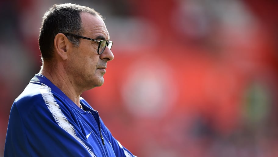 Chelsea's Italian head coach Maurizio Sarri watches his players warm up ahead the English Premier League football match between Southampton and Chelsea at St Mary's Stadium in Southampton, southern England on October 7, 2018. (Photo by Glyn KIRK / AFP) / RESTRICTED TO EDITORIAL USE. No use with unauthorized audio, video, data, fixture lists, club/league logos or 'live' services. Online in-match use limited to 120 images. An additional 40 images may be used in extra time. No video emulation. Social media in-match use limited to 120 images. An additional 40 images may be used in extra time. No use in betting publications, games or single club/league/player publications. /         (Photo credit should read GLYN KIRK/AFP/Getty Images)
