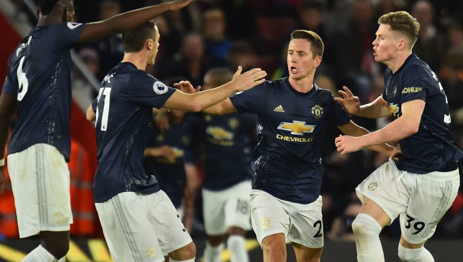 Manchester United's Spanish midfielder Ander Herrera (2R) celebrates scoring their second goal to equalise 2-2 during the English Premier League football match between Southampton and Manchester United at St Mary's Stadium in Southampton, southern England on December 1, 2018. (Photo by Glyn KIRK / AFP) / RESTRICTED TO EDITORIAL USE. No use with unauthorized audio, video, data, fixture lists, club/league logos or 'live' services. Online in-match use limited to 120 images. An additional 40 images may be used in extra time. No video emulation. Social media in-match use limited to 120 images. An additional 40 images may be used in extra time. No use in betting publications, games or single club/league/player publications. /         (Photo credit should read GLYN KIRK/AFP/Getty Images)