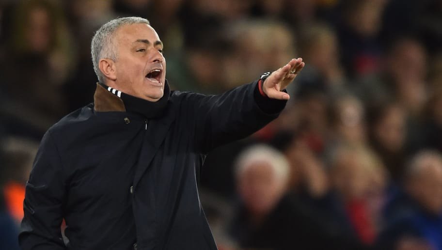 Manchester United's Portuguese manager Jose Mourinho gestures from the touchline during the English Premier League football match between Southampton and Manchester United at St Mary's Stadium in Southampton, southern England on December 1, 2018. (Photo by Glyn KIRK / AFP) / RESTRICTED TO EDITORIAL USE. No use with unauthorized audio, video, data, fixture lists, club/league logos or 'live' services. Online in-match use limited to 120 images. An additional 40 images may be used in extra time. No video emulation. Social media in-match use limited to 120 images. An additional 40 images may be used in extra time. No use in betting publications, games or single club/league/player publications. /         (Photo credit should read GLYN KIRK/AFP/Getty Images)