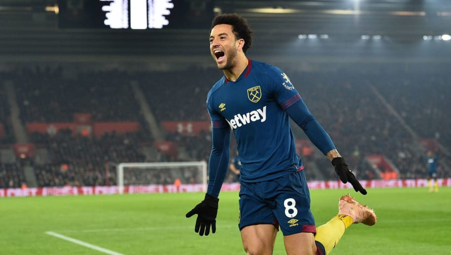 West Ham United's Brazilian midfielder Felipe Anderson celebrates after scoring their second goal during the English Premier League football match between Southampton and West Ham United at St Mary's Stadium in Southampton, southern England on December 27, 2018. (Photo by Glyn KIRK / AFP) / RESTRICTED TO EDITORIAL USE. No use with unauthorized audio, video, data, fixture lists, club/league logos or 'live' services. Online in-match use limited to 120 images. An additional 40 images may be used in extra time. No video emulation. Social media in-match use limited to 120 images. An additional 40 images may be used in extra time. No use in betting publications, games or single club/league/player publications. /         (Photo credit should read GLYN KIRK/AFP/Getty Images)