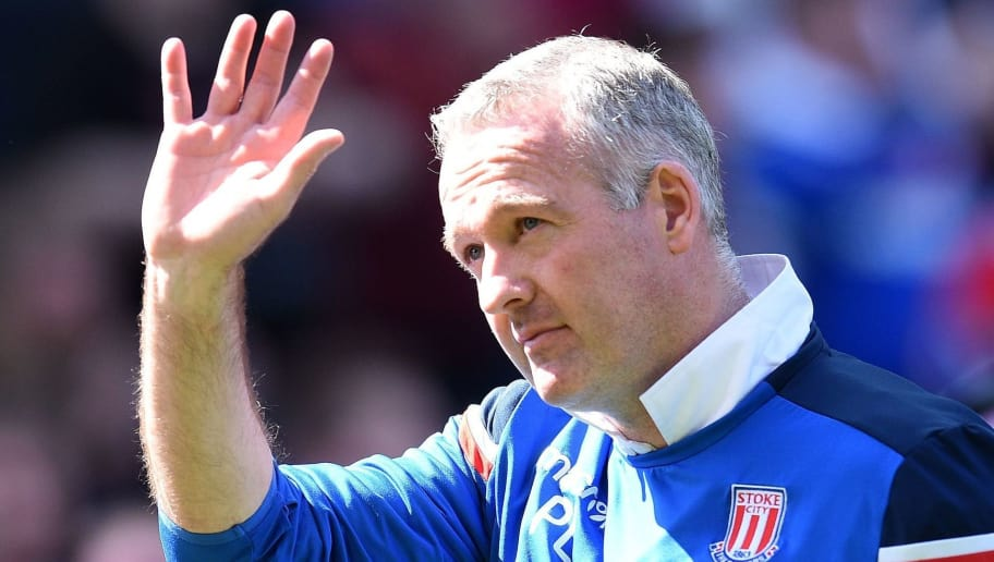 Stoke City's Scottish manager Paul Lambert waves to the fans following the English Premier League football match between Stoke City and Crystal Palace at the Bet365 Stadium in Stoke-on-Trent, central England on May 5, 2018. - Crystal Palace won the match 2-1. (Photo by Oli SCARFF / AFP) / RESTRICTED TO EDITORIAL USE. No use with unauthorized audio, video, data, fixture lists, club/league logos or 'live' services. Online in-match use limited to 75 images, no video emulation. No use in betting, games or single club/league/player publications. /         (Photo credit should read OLI SCARFF/AFP/Getty Images)