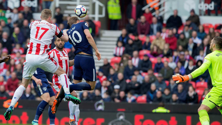 Stoke City's English goalkeeper Jack Butland (R) watches the ball, struck by Tottenham Hotspur's Danish midfielder Christian Eriksen (unseen), roll into his net to score Tottenham's second goal during the English Premier League football match between Stoke City and Tottenham Hotspur at the Bet365 Stadium in Stoke-on-Trent, central England on April 7, 2018. / AFP PHOTO / Roland Harrison / RESTRICTED TO EDITORIAL USE. No use with unauthorized audio, video, data, fixture lists, club/league logos or 'live' services. Online in-match use limited to 75 images, no video emulation. No use in betting, games or single club/league/player publications.  / CORRECTING NAME OF GOAL SCORER The erroneous mention[s] appearing in the metadata of this photo by Roland Harrison has been modified in AFP systems in the following manner: [Stoke City's English goalkeeper Jack Butland (C) watches the ball, struck by Tottenham Hotspur's Danish midfielder Christian Eriksen (unseen), roll into his net to score Tottenham's second goal] instead of [Tottenham Hotspur's English striker Harry Kane (C) heads the ball past Stoke City's English goalkeeper Jack Butland to score his team's second goal ]. Please immediately remove the erroneous mention[s] from all your online services and delete it (them) from your servers. If you have been authorized by AFP to distribute it (them) to third parties, please ensure that the same actions are carried out by them. Failure to promptly comply with these instructions will entail liability on your part for any continued or post notification usage. Therefore we thank you very much for all your attention and prompt action. We are sorry for the inconvenience this notification may cause and remain at your disposal for any further information you may require.        (Photo credit should read ROLAND HARRISON/AFP/Getty Images)