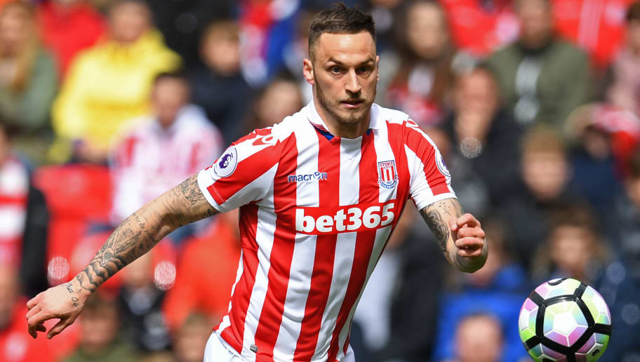 Stoke City's Austrian striker Marko Arnautovic chases the ball during the English Premier League football match between Stoke City and West Ham United at the Bet365 Stadium in Stoke-on-Trent, central England on April 29, 2017.   / AFP PHOTO / Paul ELLIS / RESTRICTED TO EDITORIAL USE. No use with unauthorized audio, video, data, fixture lists, club/league logos or 'live' services. Online in-match use limited to 75 images, no video emulation. No use in betting, games or single club/league/player publications.  /         (Photo credit should read PAUL ELLIS/AFP/Getty Images)