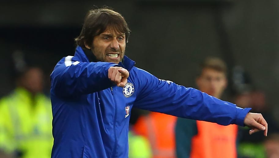 Chelsea's Italian head coach Antonio Conte gestures on the touchline during the English Premier League football match between Swansea City and Chelsea at The Liberty Stadium in Swansea, south Wales on April 28, 2018. (Photo by Geoff CADDICK / AFP) / RESTRICTED TO EDITORIAL USE. No use with unauthorized audio, video, data, fixture lists, club/league logos or 'live' services. Online in-match use limited to 75 images, no video emulation. No use in betting, games or single club/league/player publications. /         (Photo credit should read GEOFF CADDICK/AFP/Getty Images)
