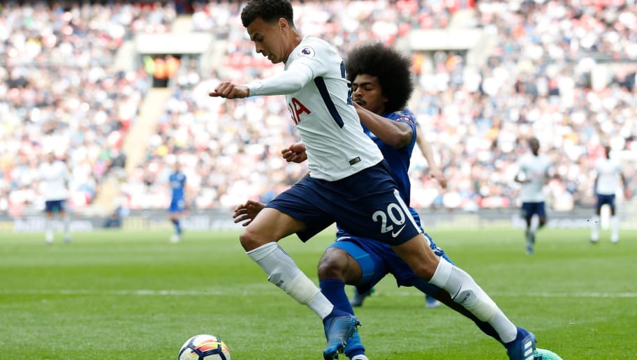 Tottenham Hotspur's English midfielder Dele Alli (L) vies with Leicester City's English midfielder Hamza Choudhury during the English Premier League football match between Tottenham Hotspur and Leicester City at Wembley Stadium in London, on May 13, 2018. - Tottenham won the game 5-4. (Photo by Ian KINGTON / AFP) / RESTRICTED TO EDITORIAL USE. No use with unauthorized audio, video, data, fixture lists, club/league logos or 'live' services. Online in-match use limited to 75 images, no video emulation. No use in betting, games or single club/league/player publications. /         (Photo credit should read IAN KINGTON/AFP/Getty Images)