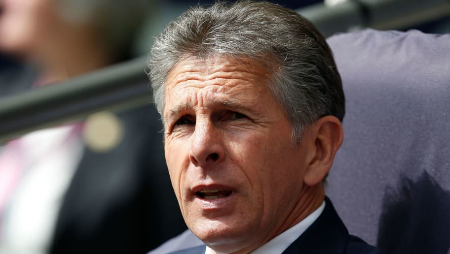 Leicester City's French manager Claude Puel awaits kick off in the English Premier League football match between Tottenham Hotspur and Leicester City at Wembley Stadium in London, on May 13, 2018. (Photo by Ian KINGTON / AFP) / RESTRICTED TO EDITORIAL USE. No use with unauthorized audio, video, data, fixture lists, club/league logos or 'live' services. Online in-match use limited to 75 images, no video emulation. No use in betting, games or single club/league/player publications. /         (Photo credit should read IAN KINGTON/AFP/Getty Images)