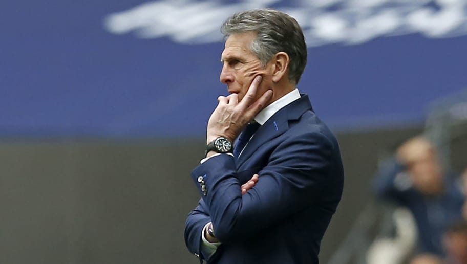 Leicester City's French manager Claude Puel watches from the touchline during the English Premier League football match between Tottenham Hotspur and Leicester City at Wembley Stadium in London, on May 13, 2018. (Photo by Ian KINGTON / AFP) / RESTRICTED TO EDITORIAL USE. No use with unauthorized audio, video, data, fixture lists, club/league logos or 'live' services. Online in-match use limited to 75 images, no video emulation. No use in betting, games or single club/league/player publications. /         (Photo credit should read IAN KINGTON/AFP/Getty Images)