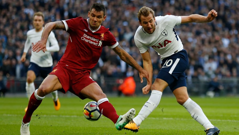 Liverpool's Croatian defender Dejan Lovren (L) vies with Tottenham Hotspur's English striker Harry Kane during the English Premier League football match between Tottenham Hotspur and Liverpool at Wembley Stadium in London, on October 22, 2017. / AFP PHOTO / IKIMAGES / Ian KINGTON / RESTRICTED TO EDITORIAL USE. No use with unauthorized audio, video, data, fixture lists, club/league logos or 'live' services. Online in-match use limited to 45 images, no video emulation. No use in betting, games or single club/league/player publications.  /         (Photo credit should read IAN KINGTON/AFP/Getty Images)