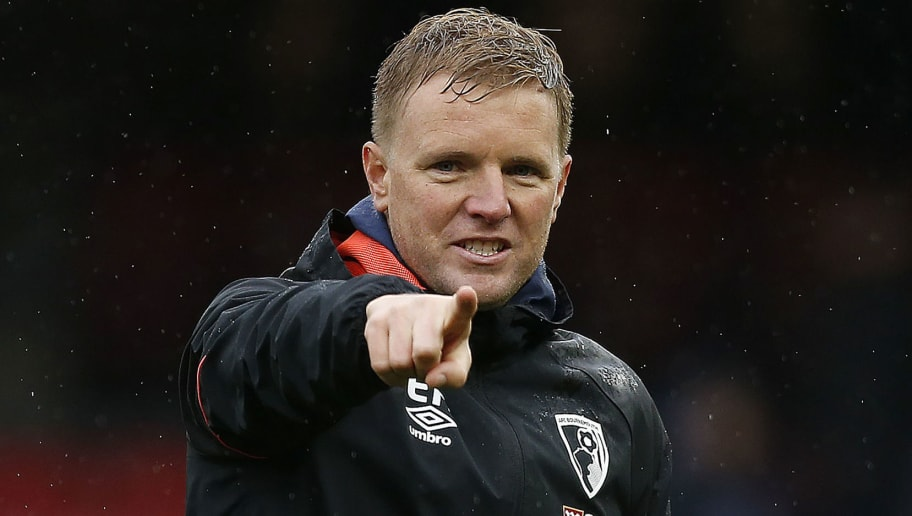 Bournemouth's English manager Eddie Howe applauds the fans following the English Premier League football match between Watford and Bournemouth at Vicarage Road Stadium in Watford, north of London on October 6, 2018. - Bournemouth won the match 4-0. (Photo by Ian KINGTON / AFP) / RESTRICTED TO EDITORIAL USE. No use with unauthorized audio, video, data, fixture lists, club/league logos or 'live' services. Online in-match use limited to 120 images. An additional 40 images may be used in extra time. No video emulation. Social media in-match use limited to 120 images. An additional 40 images may be used in extra time. No use in betting publications, games or single club/league/player publications. /         (Photo credit should read IAN KINGTON/AFP/Getty Images)