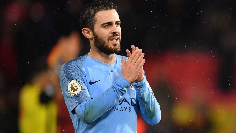 Manchester City's Portuguese midfielder Bernardo Silva celebrates following the English Premier League football match between Watford and Manchester City at Vicarage Road Stadium in Watford, north of London on December 4, 2018. (Photo by Ben STANSALL / AFP) / RESTRICTED TO EDITORIAL USE. No use with unauthorized audio, video, data, fixture lists, club/league logos or 'live' services. Online in-match use limited to 120 images. An additional 40 images may be used in extra time. No video emulation. Social media in-match use limited to 120 images. An additional 40 images may be used in extra time. No use in betting publications, games or single club/league/player publications. /         (Photo credit should read BEN STANSALL/AFP/Getty Images)