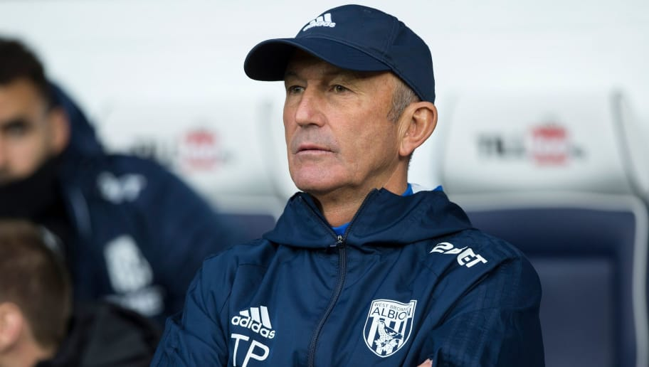 West Bromwich Albion's Welsh head coach Tony Pulis reacts ahead of the English Premier League football match between West Bromwich Albion and Chelsea at The Hawthorns stadium in West Bromwich, central England, on November 18, 2017.  / AFP PHOTO / Roland Harrison / RESTRICTED TO EDITORIAL USE. No use with unauthorized audio, video, data, fixture lists, club/league logos or 'live' services. Online in-match use limited to 75 images, no video emulation. No use in betting, games or single club/league/player publications.  /         (Photo credit should read ROLAND HARRISON/AFP/Getty Images)