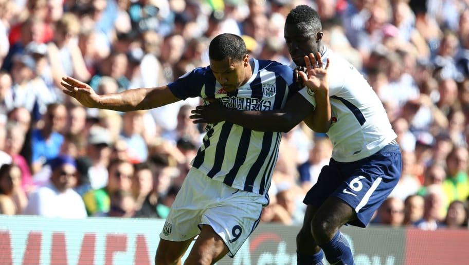 Tottenham Hotspur's Colombian defender Davinson Sanchez (R) vies with West Bromwich Albion's Venezuelan striker Salomon Rondon during the English Premier League football match between West Bromwich Albion and Tottenham Hotspur at The Hawthorns stadium in West Bromwich, central England, on May 5, 2018. (Photo by GEOFF CADDICK / AFP) / RESTRICTED TO EDITORIAL USE. No use with unauthorized audio, video, data, fixture lists, club/league logos or 'live' services. Online in-match use limited to 75 images, no video emulation. No use in betting, games or single club/league/player publications. /         (Photo credit should read GEOFF CADDICK/AFP/Getty Images)