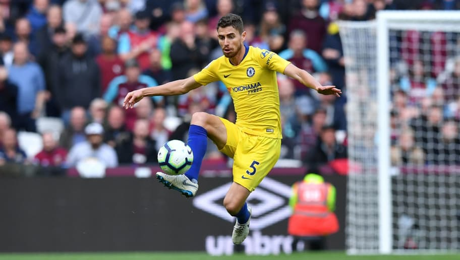 Chelsea's Italian midfielder Jorginho controls the ball during the English Premier League football match between West Ham United and Chelsea at The London Stadium, in east London on September 23, 2018. (Photo by Ben STANSALL / AFP) / RESTRICTED TO EDITORIAL USE. No use with unauthorized audio, video, data, fixture lists, club/league logos or 'live' services. Online in-match use limited to 120 images. An additional 40 images may be used in extra time. No video emulation. Social media in-match use limited to 120 images. An additional 40 images may be used in extra time. No use in betting publications, games or single club/league/player publications. /         (Photo credit should read BEN STANSALL/AFP/Getty Images)