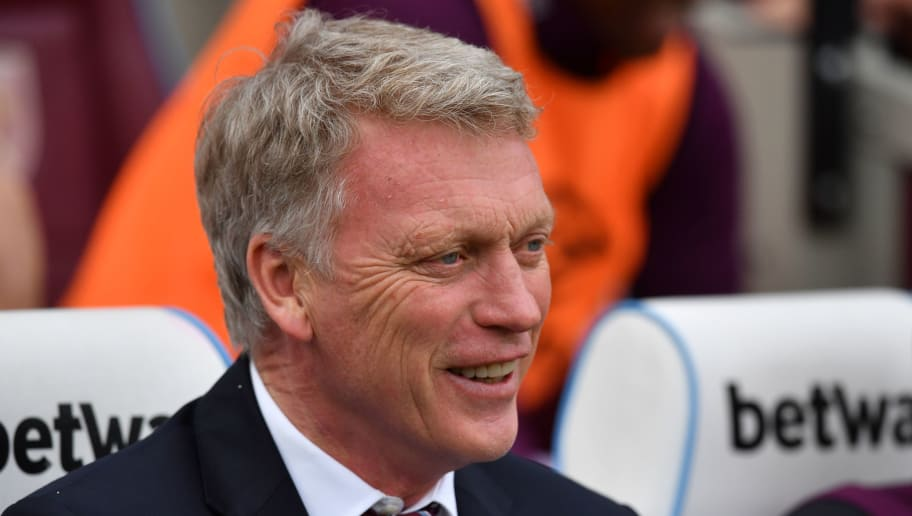 West Ham United's Scottish manager David Moyes awaits kick off in the English Premier League football match between West Ham United and Everton at The London Stadium, in east London on May 13, 2018. (Photo by Ben STANSALL / AFP) / RESTRICTED TO EDITORIAL USE. No use with unauthorized audio, video, data, fixture lists, club/league logos or 'live' services. Online in-match use limited to 75 images, no video emulation. No use in betting, games or single club/league/player publications. /         (Photo credit should read BEN STANSALL/AFP/Getty Images)