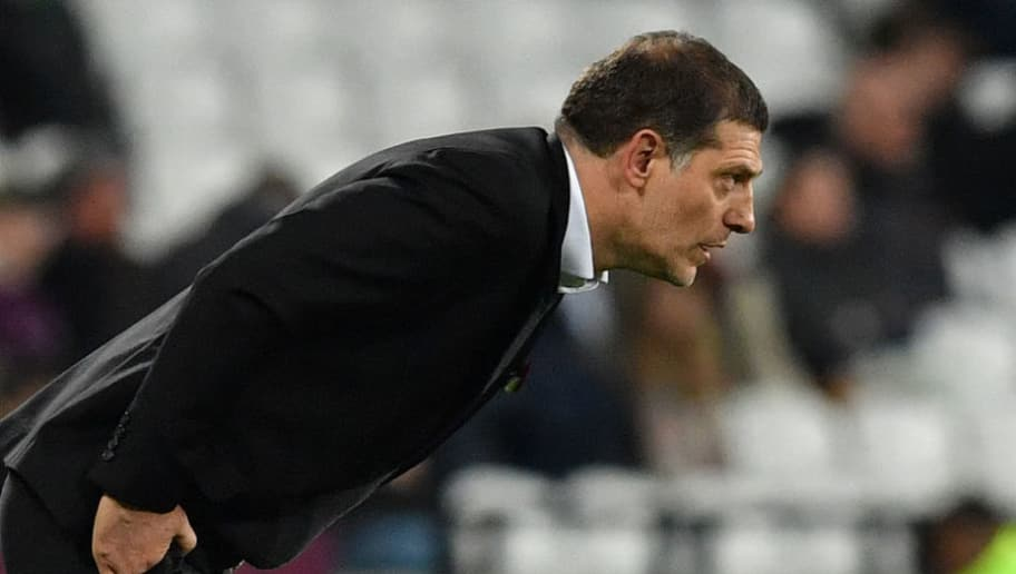 West Ham United's Croatian manager Slaven Bilic reacts after losing the English Premier League football match between West Ham United and Liverpool at The London Stadium, in east London on November 4, 2017. / AFP PHOTO / Ben STANSALL / RESTRICTED TO EDITORIAL USE. No use with unauthorized audio, video, data, fixture lists, club/league logos or 'live' services. Online in-match use limited to 75 images, no video emulation. No use in betting, games or single club/league/player publications.  /         (Photo credit should read BEN STANSALL/AFP/Getty Images)