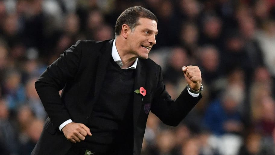 West Ham United's Croatian manager Slaven Bilic gestures during the English Premier League football match between West Ham United and Liverpool at The London Stadium, in east London on November 4, 2017. / AFP PHOTO / Ben STANSALL / RESTRICTED TO EDITORIAL USE. No use with unauthorized audio, video, data, fixture lists, club/league logos or 'live' services. Online in-match use limited to 75 images, no video emulation. No use in betting, games or single club/league/player publications.  /         (Photo credit should read BEN STANSALL/AFP/Getty Images)
